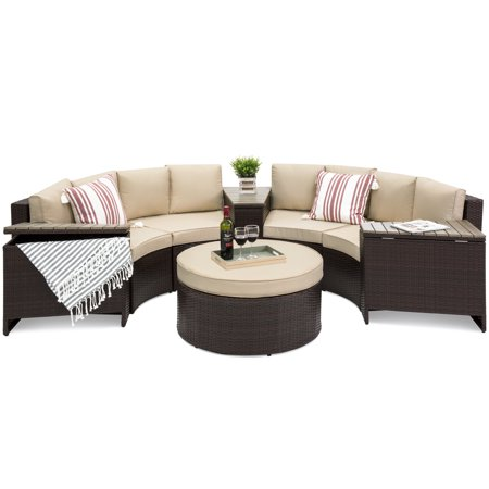 Best Choice Products 8-Piece Half Circle Wicker Sectional Sofa Set with Beige