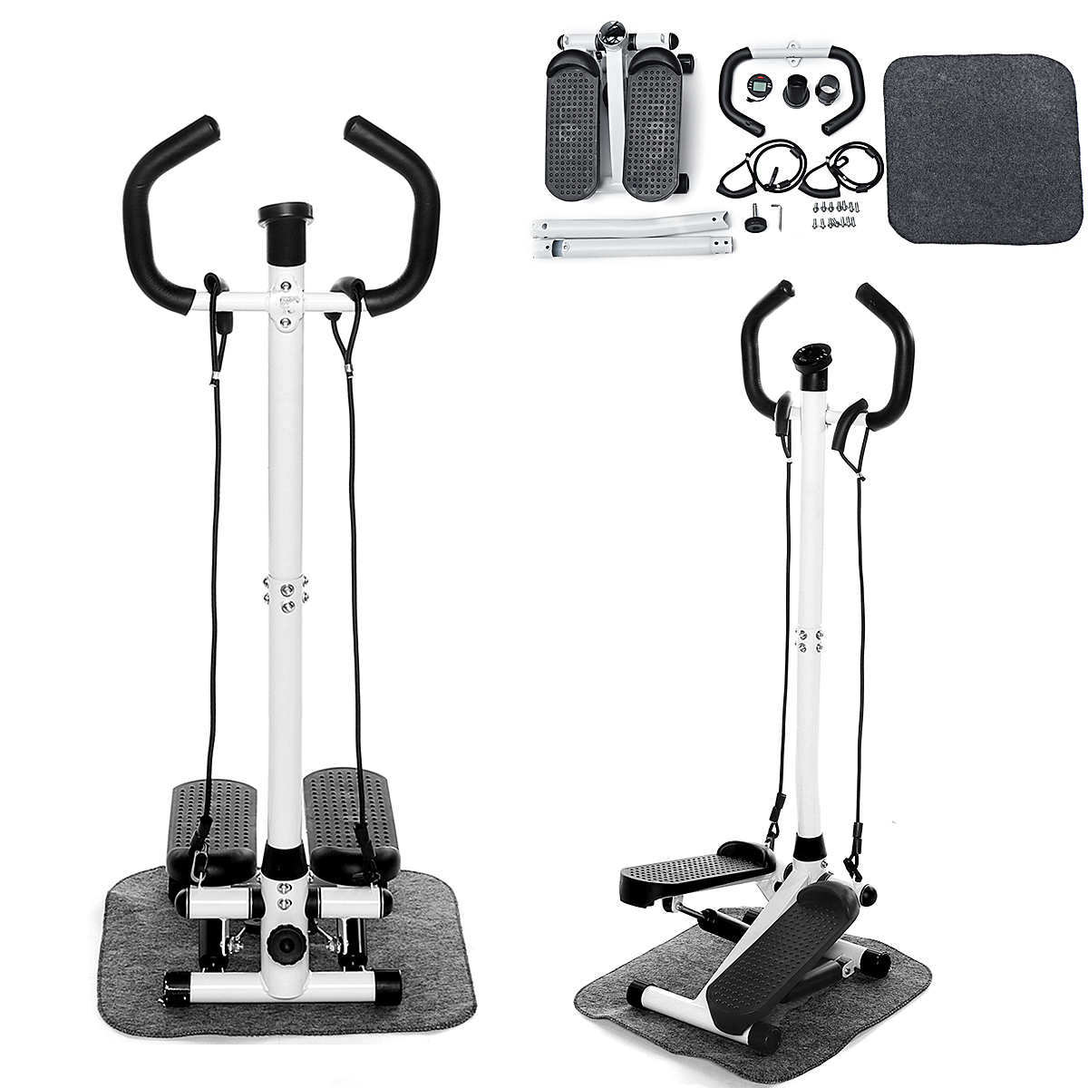 Details about  /Twist Stair Stepper W// Handle Bars LCD Monitor Display Cardio Aerobic Machine US