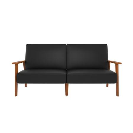 9908 Black Leather (Novogratz Asher Futon with Faux Leather Upholstery - Black)