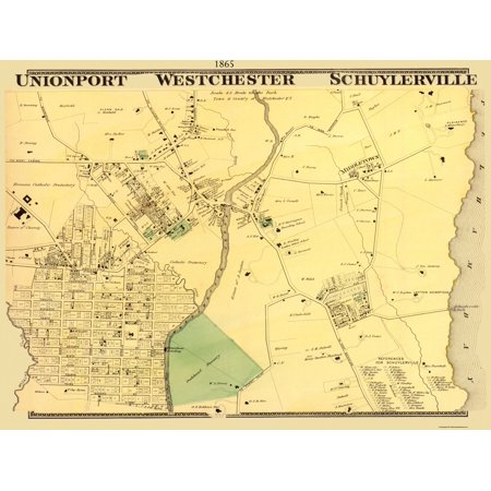 Old City Map - Union Port, Westchester New York Landowner - 1865 - 30.5 x 23 - Party City Westchester