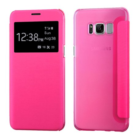 Frosted Leather (Galaxy S8 Plus Case and Glass Screen Protector Bundle, by Insten Silk Texture Leather Flip Case (with Frosted Tray) For Samsung Galaxy S8+ S8 Plus - Hot Pink (Bundle with Tempered Glass Protector))