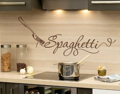 Spaghetti Wall Decal   Kitchen Wall Decal, Sticker, Mural Vinyl Art Home  Decor, Quotes And Sayings   4629   Gray, 16in X 7in