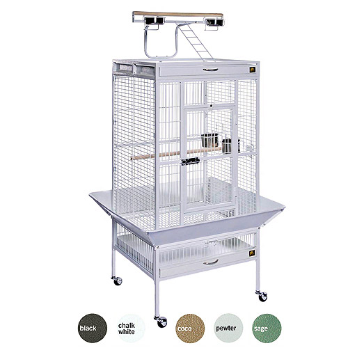 "Prevue Select Wrought Iron Parrot Bird Cage 24x20x60"", Chalk White"