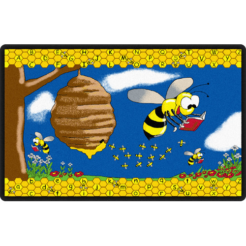 Flagship Carpets Busy Bee Yellow/Blue Area Rug