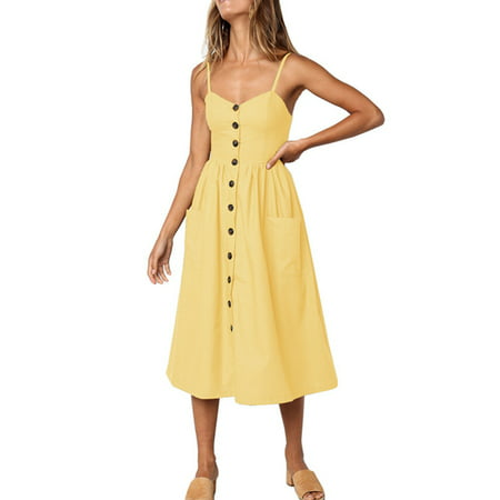 Casual Womens Summer Dress Beach Holiday Bardot Button Through Ladies Strap Sling Sleeveless Long Smock Sun - Smocked Corduroy Dress