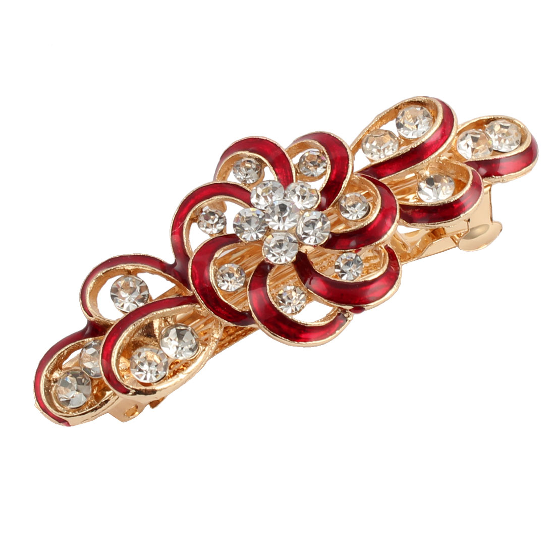 Women Metal Swirl Floral Design Hairstyle French Hair Clip Barrette Red