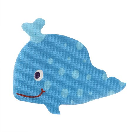 5pcs Bath Tub Non Slip Safety Treads Sticker Whale Shaped Bathroom Applique Decal (Blue)