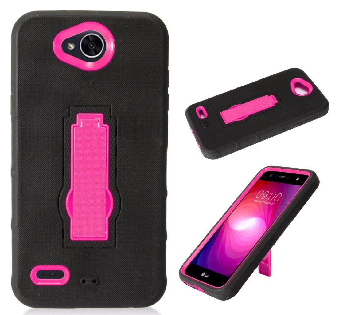For LG X Power 2 Case (2017) / LG Fiesta LTE Case / LG K10 Power Case / LV7 Symbiosis Armor Hybrid Silicone Phone Cover Hard Plastic w/ Stand (Pink/Black)
