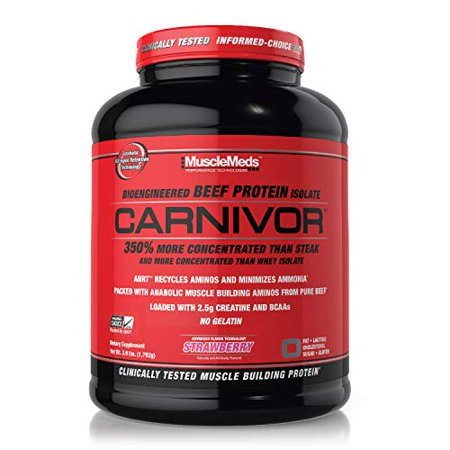 MuscleMeds Carnivor Beef Protein Isolate Powder, Strawberry, 56 Servings, 3.9 Pound