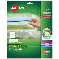 Avery Removable ID Labels, Sure Feed, 1/2?x1-3/4?, 2,000 Labels (6467)