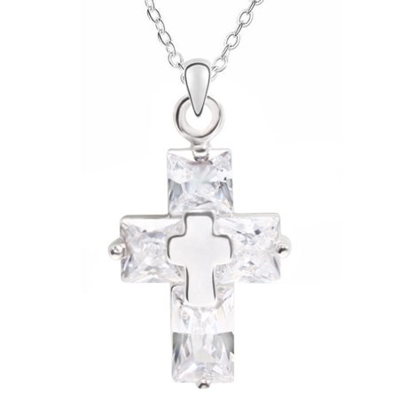 Designer Inspired Silver Cross Pendant Necklace