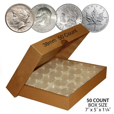 50 IKE EISENHOWER DOLLAR Direct-Fit Air 38mm Coin Capsule Holder QTY: 50 w/ BOX (Air Tight Coin Capsules)