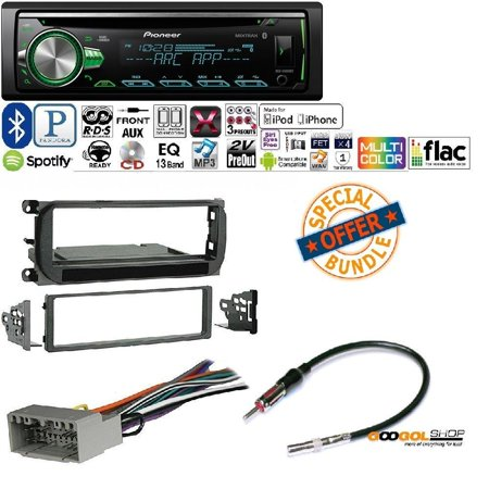 PIONEER 1DIN CAR MP3 CD STEREO W/ USB AUX-IN BLUETOOTH & PANDORA+ W/ Radio Stereo Install Dash Kit + wire harness And antenna adapter for Jeep Grand Cherokee (02-04), Liberty (02-07), (Jeep Cherokee Stereo System)
