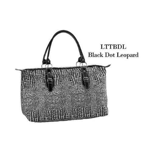 Joann Marrie Designs LTTBDL Large Travel Tote Bag - Black dot Leopard, Pack of 2