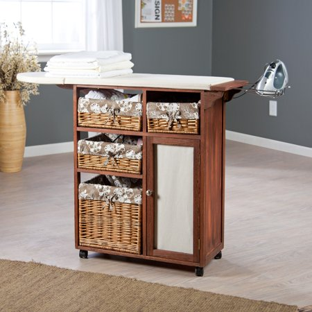 Deluxe Wood Wicker Ironing Board Center With Baskets