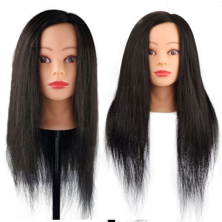 Hairdressing 100% Black Professional Real Hair 22 Inch,CoastaCloud Training Mannequin Head Hairdresser Human Hair with Clamp - Halloween Mannequin Head