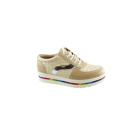 Bad Sneakers (Liyu Adult Beige Croc Pattern Glossy Panels Multi Color Band)