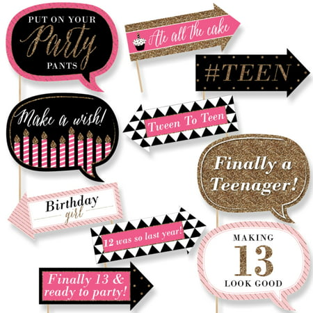 Funny Chic 13th Birthday - Pink, Black and Gold - Birthday Party Photo Booth Props Kit - 10 Count - Girls 13th Birthday Party Ideas