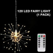 Led Christmas Lights, 120 LED Firework Lights, 8 Modes Dimmable with Remote Control, Battery Operated Hanging Fairy Lights, Waterproof, Indoors Outdoors Wedding Parties Christmas Decoration, W6656