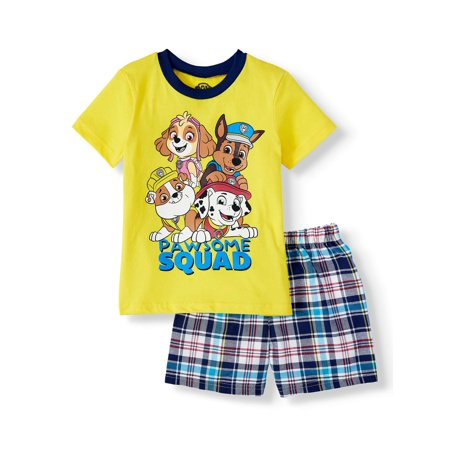 Kids 50s Outfit (Paw Patrol Short Sleeve Graphic T-shirt & Woven Plaid Short, 2pc Outfit Set (Toddler)