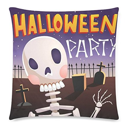 ZKGK Happy Halloween Home Decor, Halloween Night Day of the Dead Skull Pillowcase Cushion 18 x 18 Inches,Cute Cartoon Soft Pillow Cover Case Shams - Happy Halloween Cartoon Pics