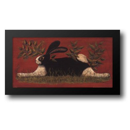 FrameToWall - Red Folk Bunny 20x12 Framed Art Print by Hilliker, Lisa