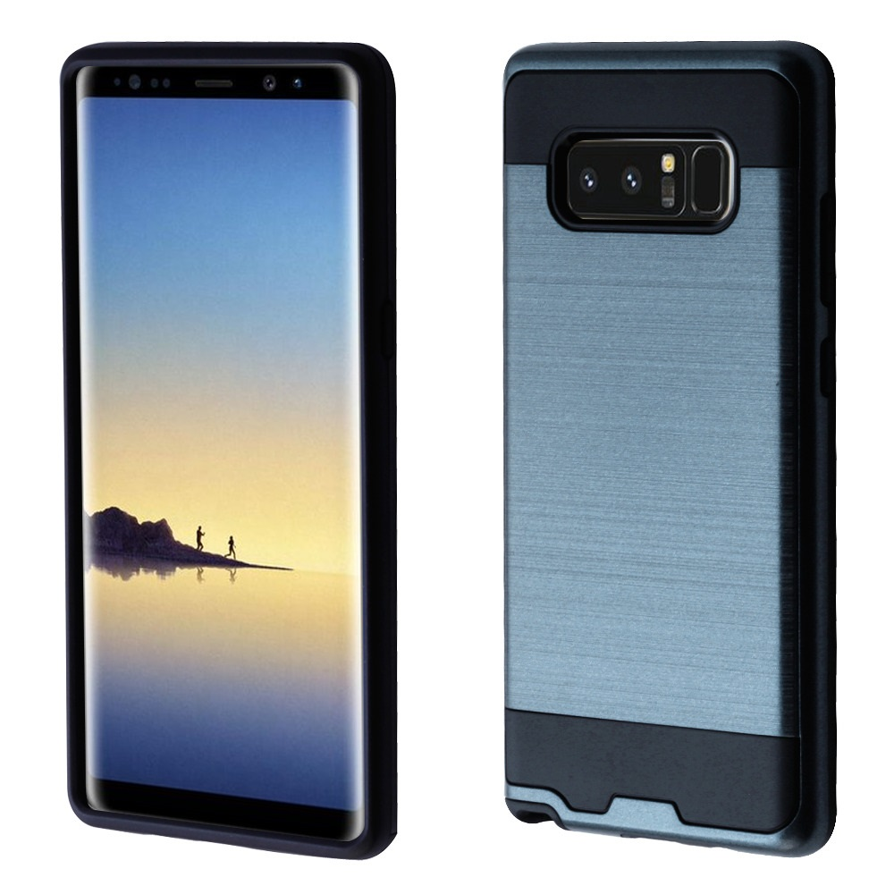 Kaleidio Case For Samsung Galaxy Note 8 [Brushed Metal Texture] Slim Fit Hybrid Armor [Shockproof] Protective TPU Lightweight 2-Piece Cover w/ Overbrawn Prying Tool [Blue/Black]