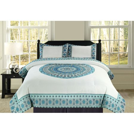 Oversized Boho Mandala Blue and Teal Bedding Comforter 3 Pc. Set King; Cotton Fabric