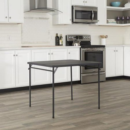 "Cosco 34"" Resin Top Folding Table, Black"
