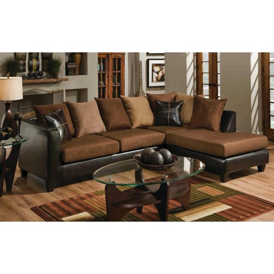 Casual Modern Small Living Room Furniture Sectional Sofa Set Brown Microfiber Chaise Cushion Couch