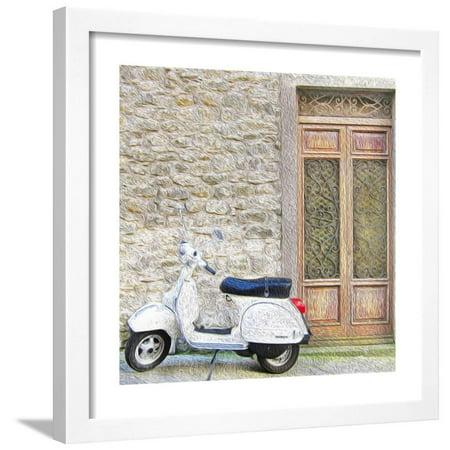 Vespa with Porte Vecchio Framed Print Wall Art By - Porte Halloween