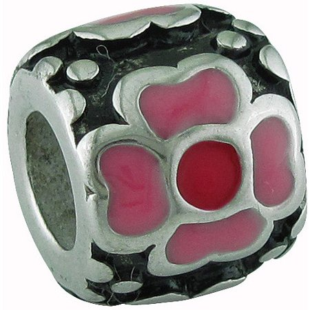 Stainless-Steel Pink And Red Enamel Flower Charm