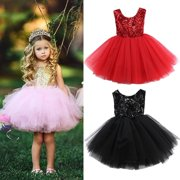 Fashion Kids Baby Flower Girls Party Sequins Dress Gown Bridesmaid Dresses Pageant wedding