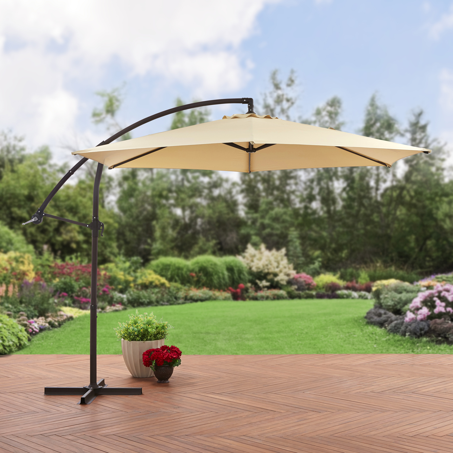 Mainstays 10' Steel Offset Patio Umbrella, Tan by NINGBO EVERLUCK OUTDOOR PRODUCTS MANUFACTING CO LTD