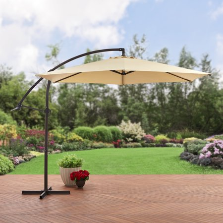 Mainstays 10' Steel Offset Patio Umbrella, ... - Mainstays 10' Steel Offset Patio Umbrella, Tan - Walmart.com