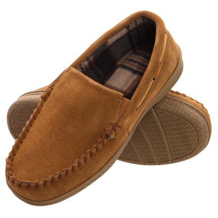 Heat Edge Men's Memory Foam Suede Slip On Indoor/Outdoor Moccasin Slipper Shoe
