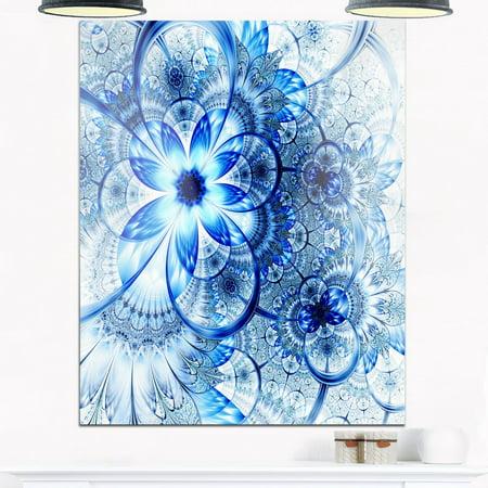 DESIGN ART Dark Blue Flower Pattern Design - Floral Glossy Metal ...