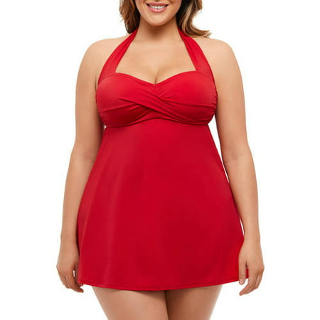 5fe287f7399 Suddenly Slim By Catalina Women's Plus-Size Retro Shirred Halter Slimming  Swimdress