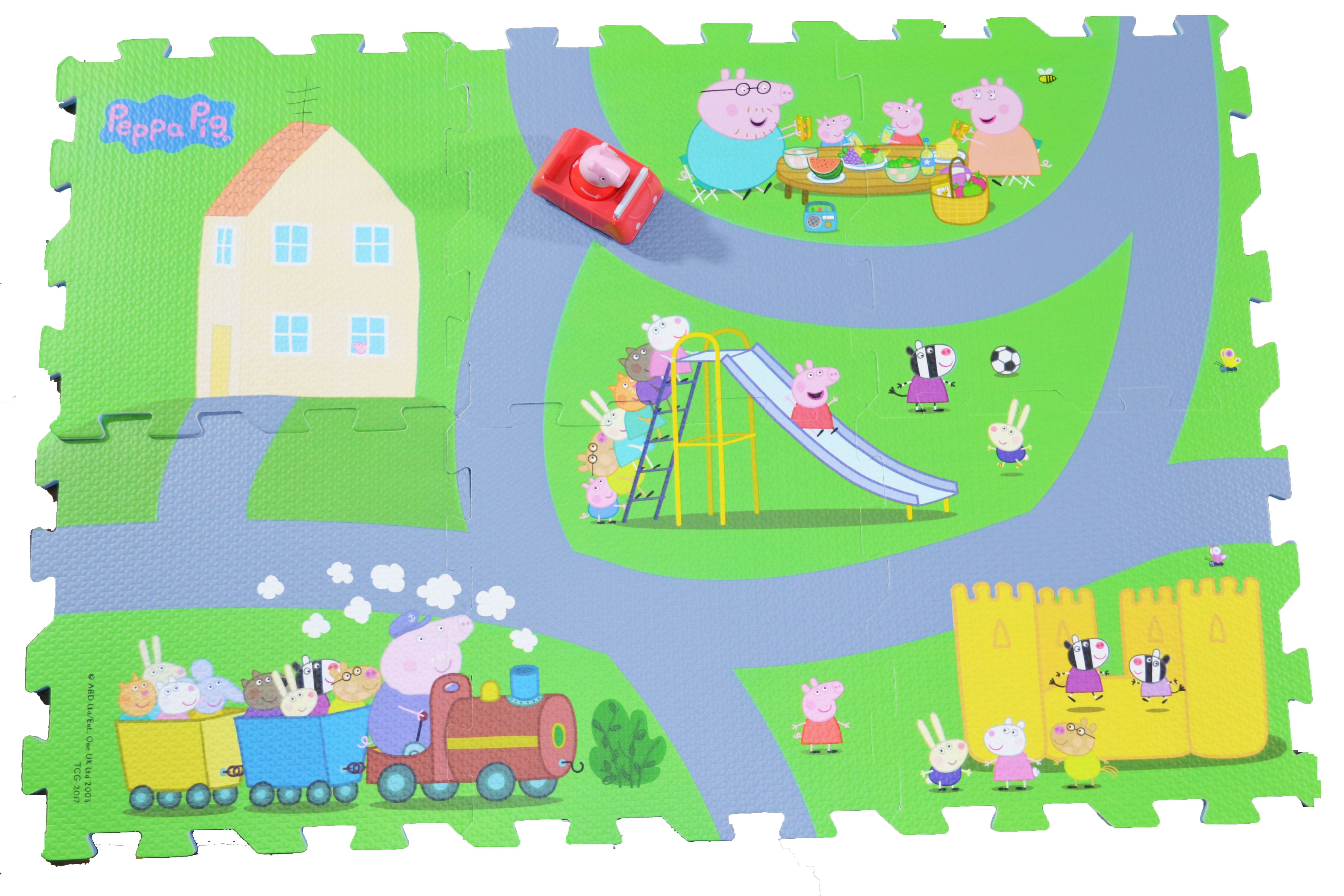Nick Jr Peppa Pig 6 Tile Mega Mat Foam Puzzle with 1 Peppa Pig Toy Car by