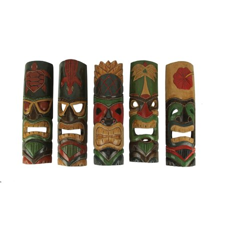 Novica Wood Mask (Set of 5 Assorted Tiki Masks Hand Carved Wood Colorful Tikis 19 in.)