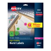 Avery 5994 Neon, Fluorescent burst laser labels, 1-1/2 diameter, 360/pack