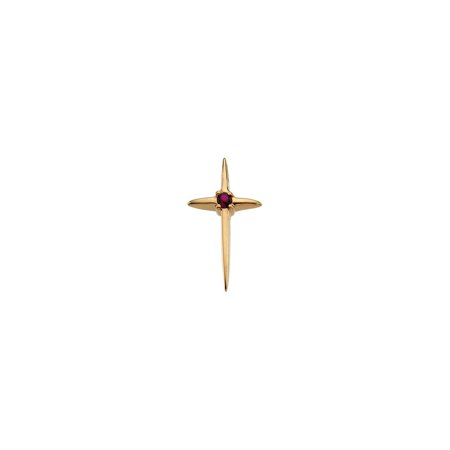 14K Yellow Gold Ruby Cross Pendant Charm Fine Jewelry for Women Gifts For Her Ruby Yellow Cross