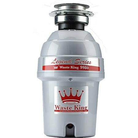 Standard Waste Disposer Flange - Waste King 9980 Legend Series 1 HP Professional 3-Bolt Mount Sound Insulated Garbage Disposer