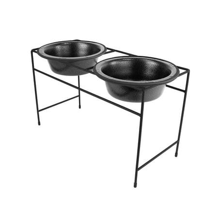 Platinum Pets Dog Double Diner Feeder with Bowls, Medium, Midnight Black