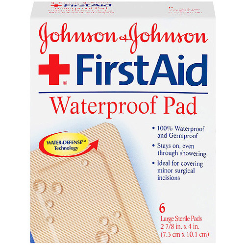 "Red Cross Johnson & Johnson First Aid Covers Non-Stick Pads Large, Waterproof  2 7/8 x 4"" 6 ct."