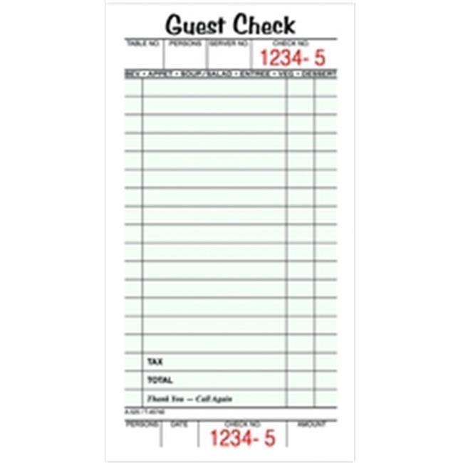TOPS 45740 Guest Check Book  1-part  50 SH per BK  5 BK per PK