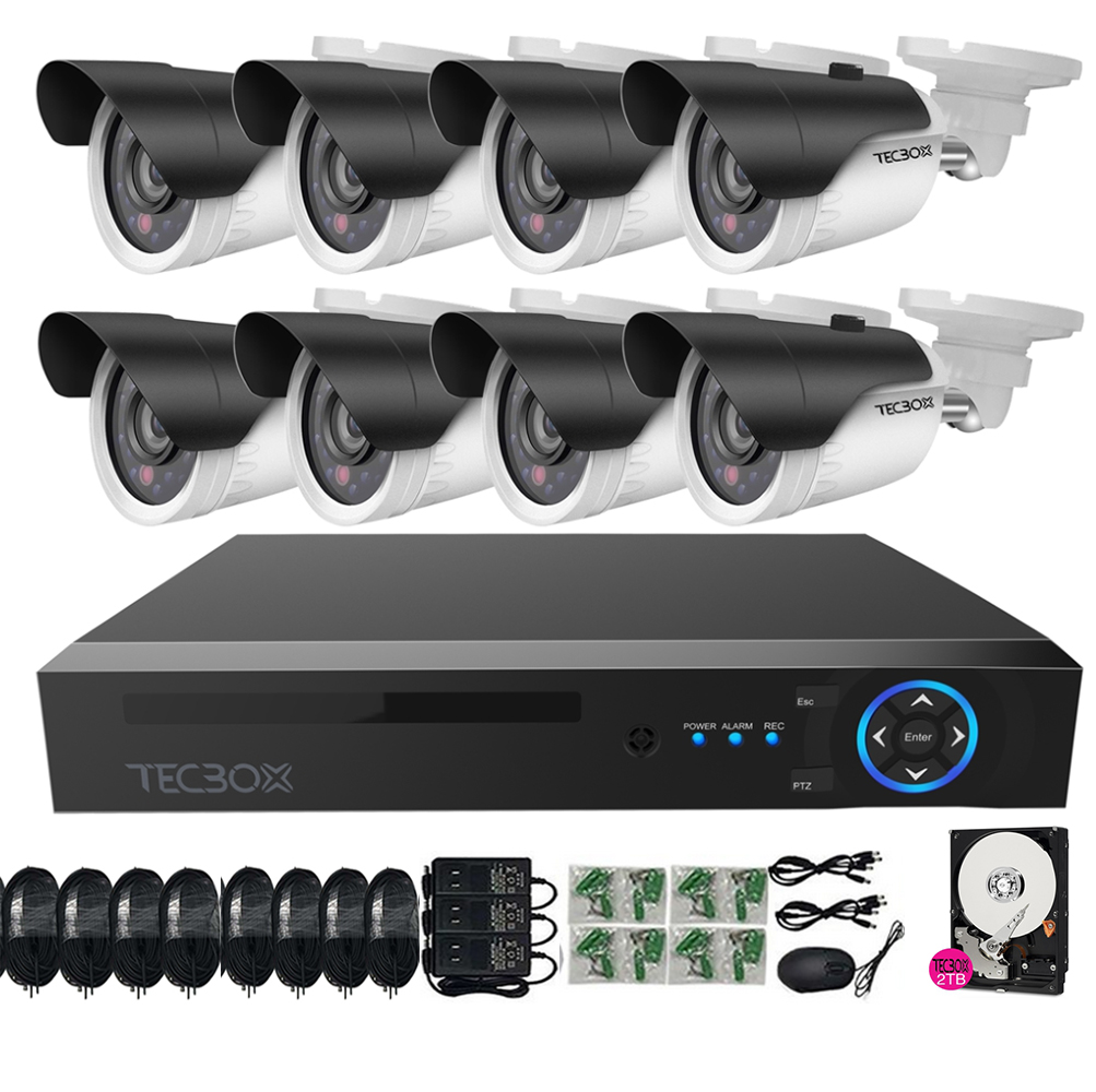 Tecbox 8 Channel Home Security Camera System CCTV Surveillance HDMI AHD DVR 8 HD 720P Indoor/Outdoor Cameras Remote View Motion Detection 2TB HDD Pre-installed