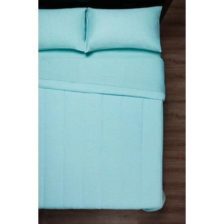 Mainstays Full or Queen Jersey Aqua Comforter, 1 Each