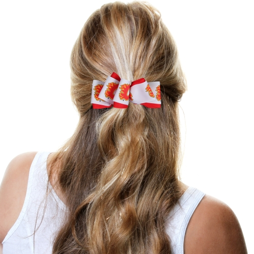 Calgary Flames Mary Loop Bow - Red/White - No Size