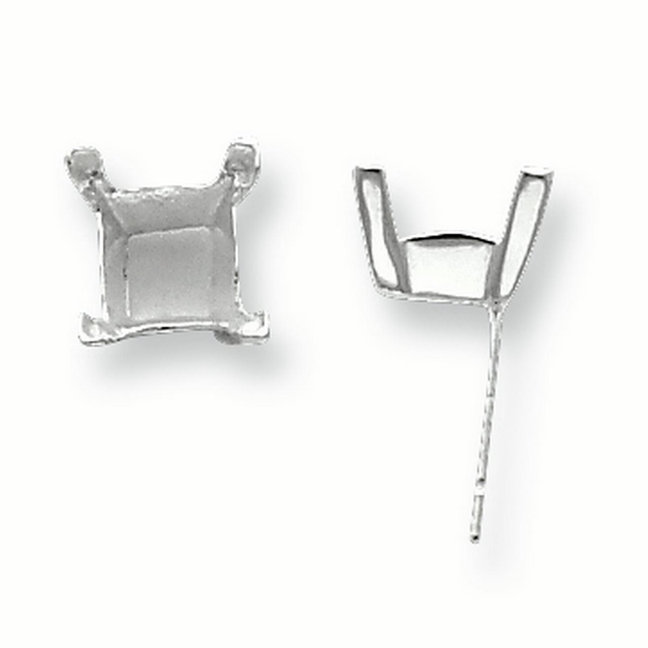 Sterling Silver Princess V-End 6.0mm Earring Setting